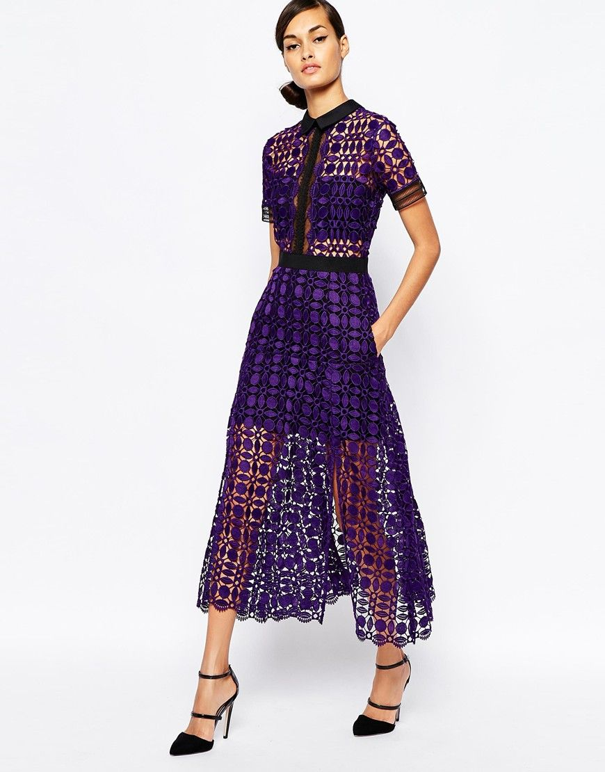 5a33ff631ee1 Self Portrait Scallop Edge Midi Dress | Clothing | Fashion, Dresses ...