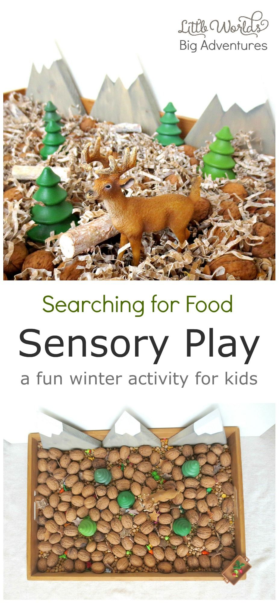 Help Bambi search for food during the cold winter days  with this fun sensory play activity toddlers and preschoolers will adore! | Little Worlds Big Adventures