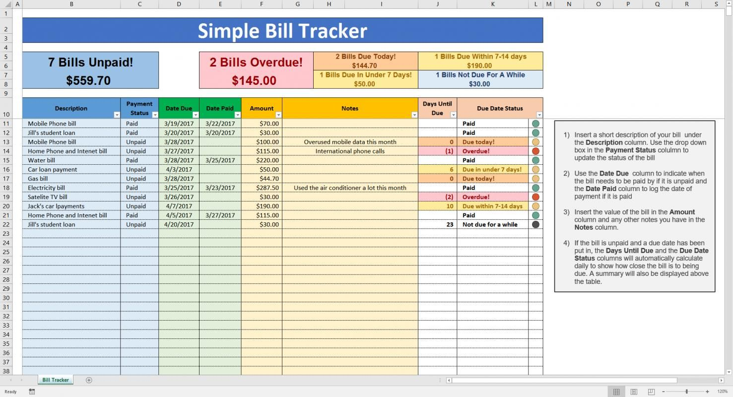 Excel Bill Tracker