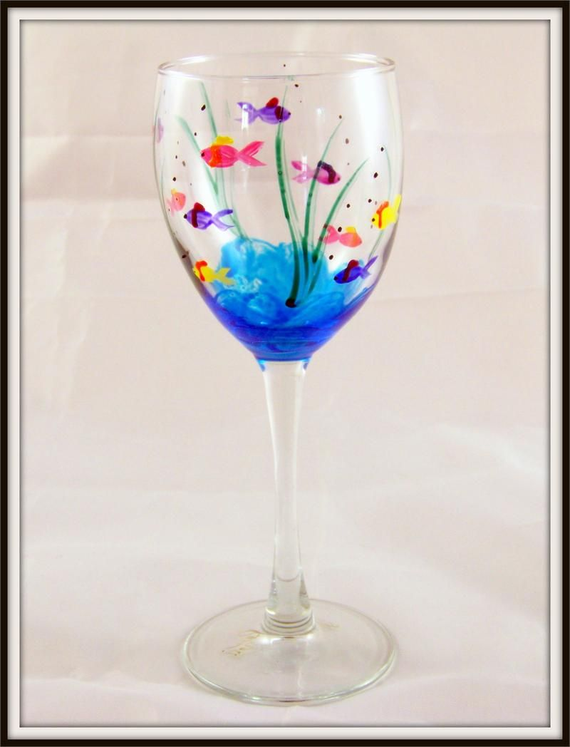Fish wine glass painted fish wine and fish for Hand painted glass bottles