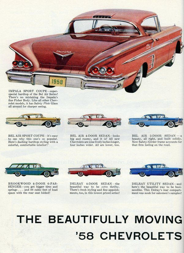 The Beautifully Moving 58 Chevrolets Car Ads Retro Cars Classic Cars