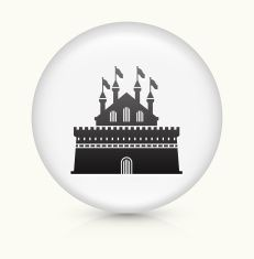 Castle icon on white round vector button vector art illustration