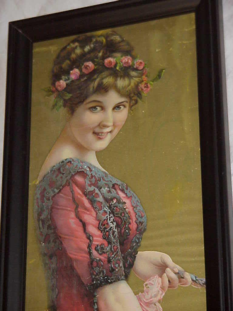 Antique Victorian Lady Yellow Flower Roses Yardlong Chromo Print Original Pretty   eBay