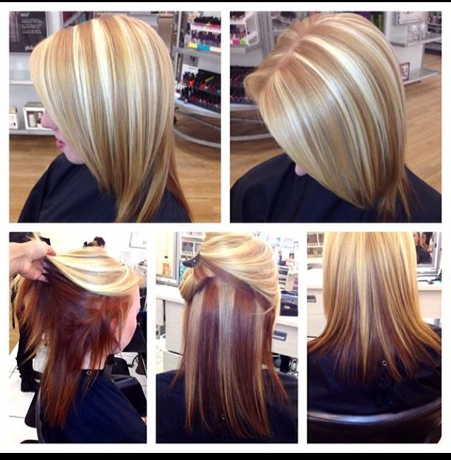 Copper Zig Zagged Shadow With Blonde Chunky Highlights Redken