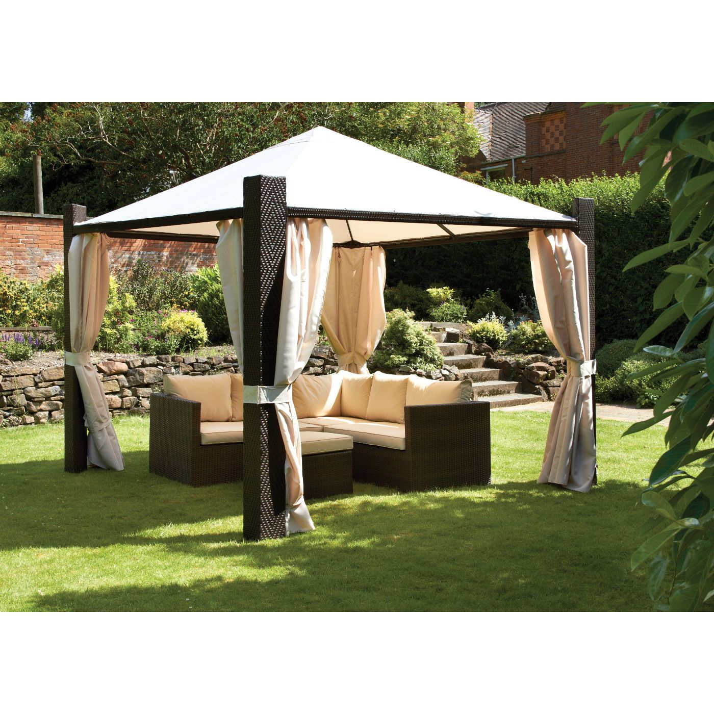 Best Cannes Mocha Brown 3M Square Gazebo With Ivory Side 400 x 300
