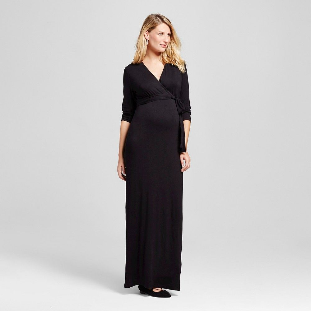 Maternity surplice longsleeve maxi dress l black macherie