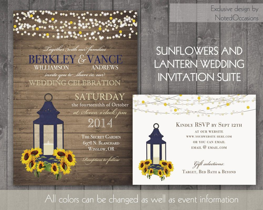 sunflower wedding invitations printable%0A Sunflower Wedding Invitation Rustic Lantern Country Wedding Invitations  with Sunflowers and Lantern wood grain background Fall Summer