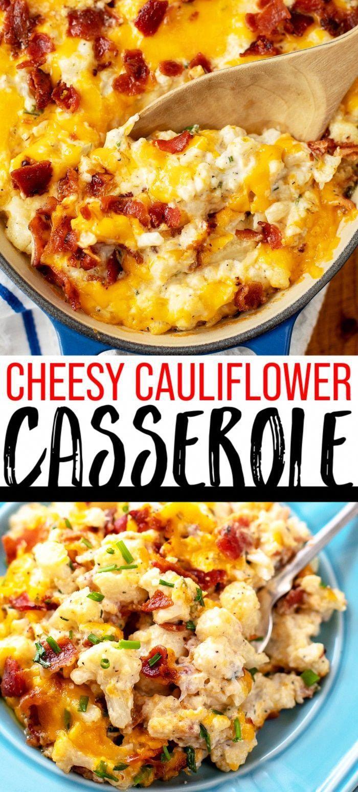 Cheesy Cauliflower Casserole Recipe - This cheesy loaded cauliflower casserole is full of cheddar, bacon, and sour cream! via @casserolecrissy