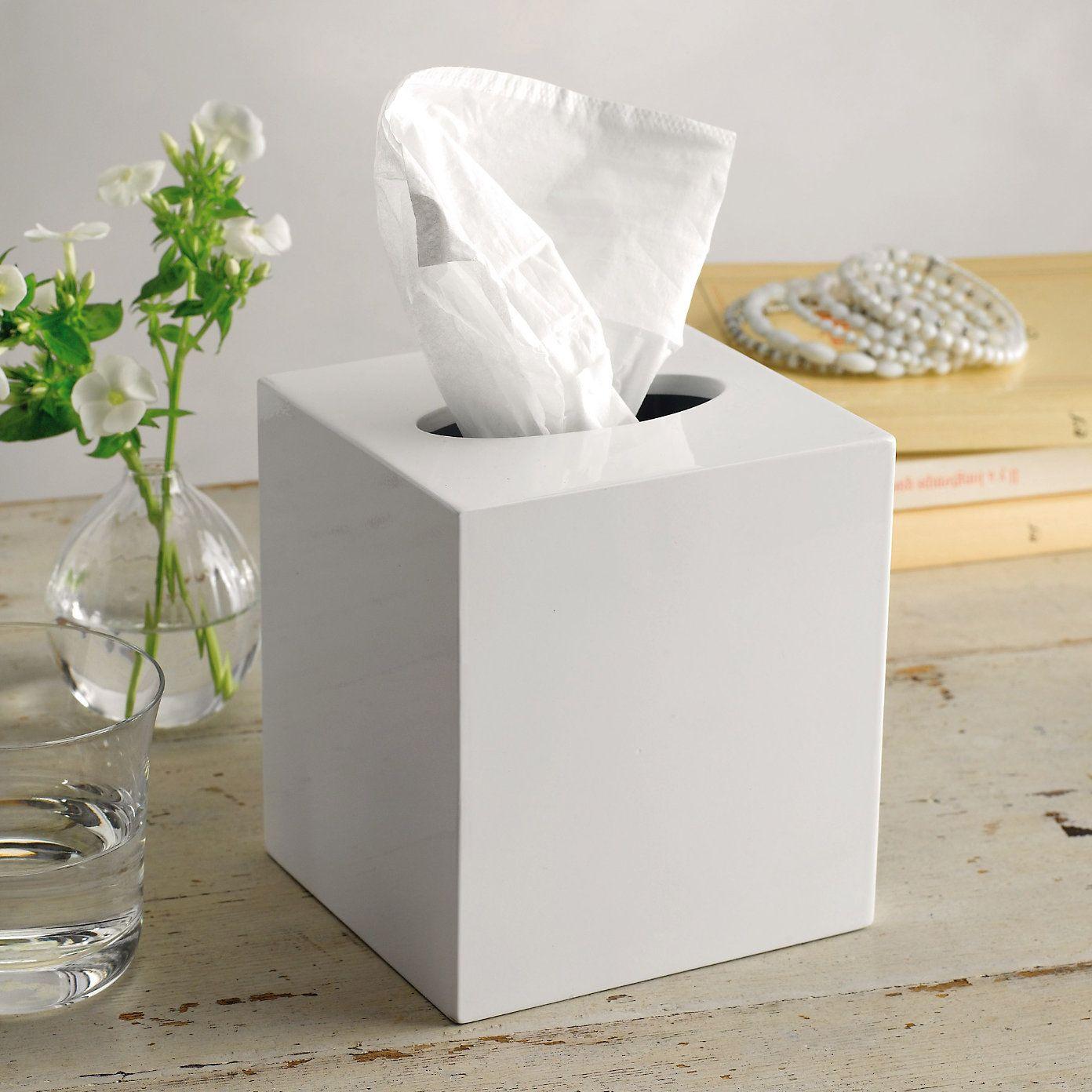 Lacquer Tissue Box Cover The White