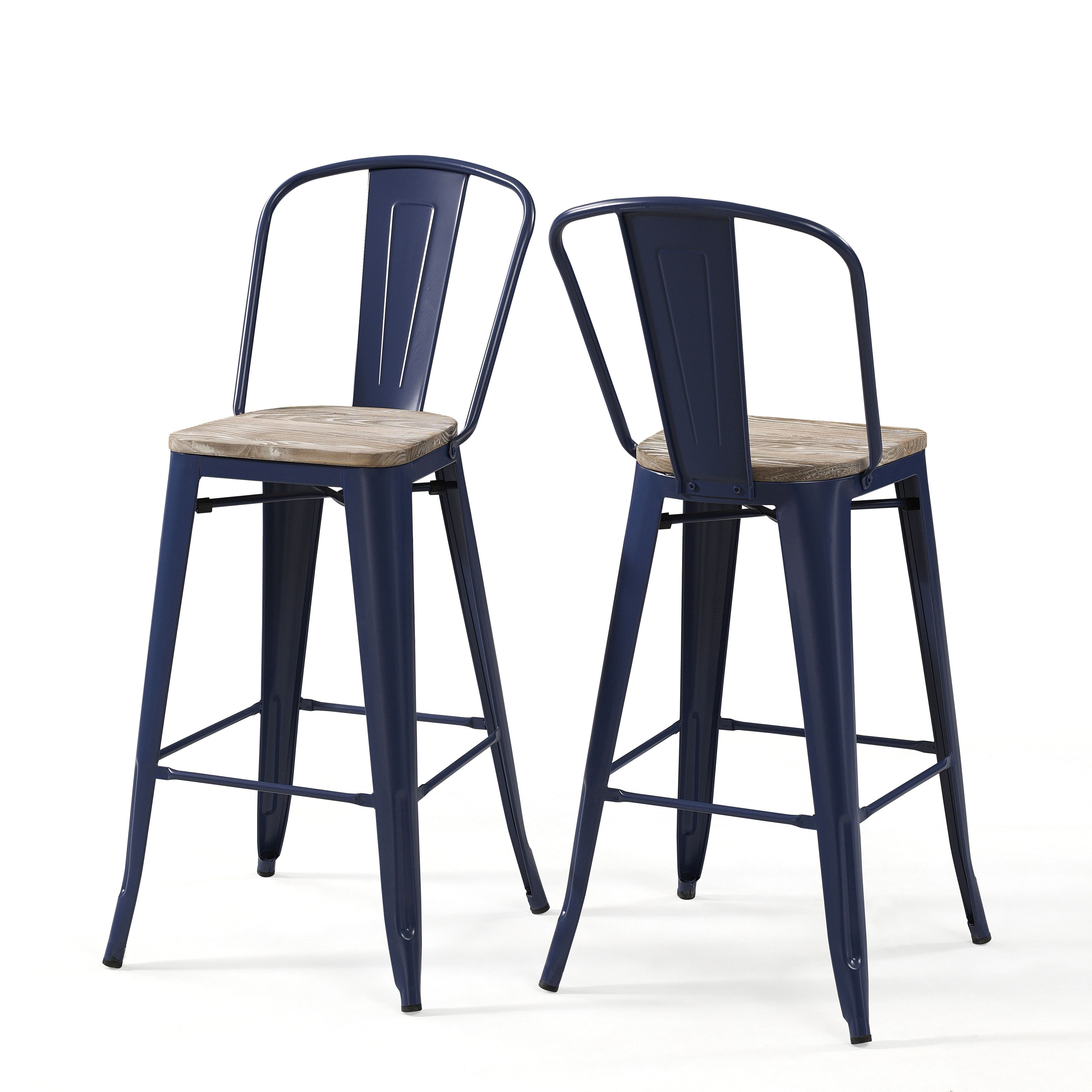 Tabourets Walmart Tabouret Bistro Wood Seat Navy Blue Bar Stools Set Of 2 Metal