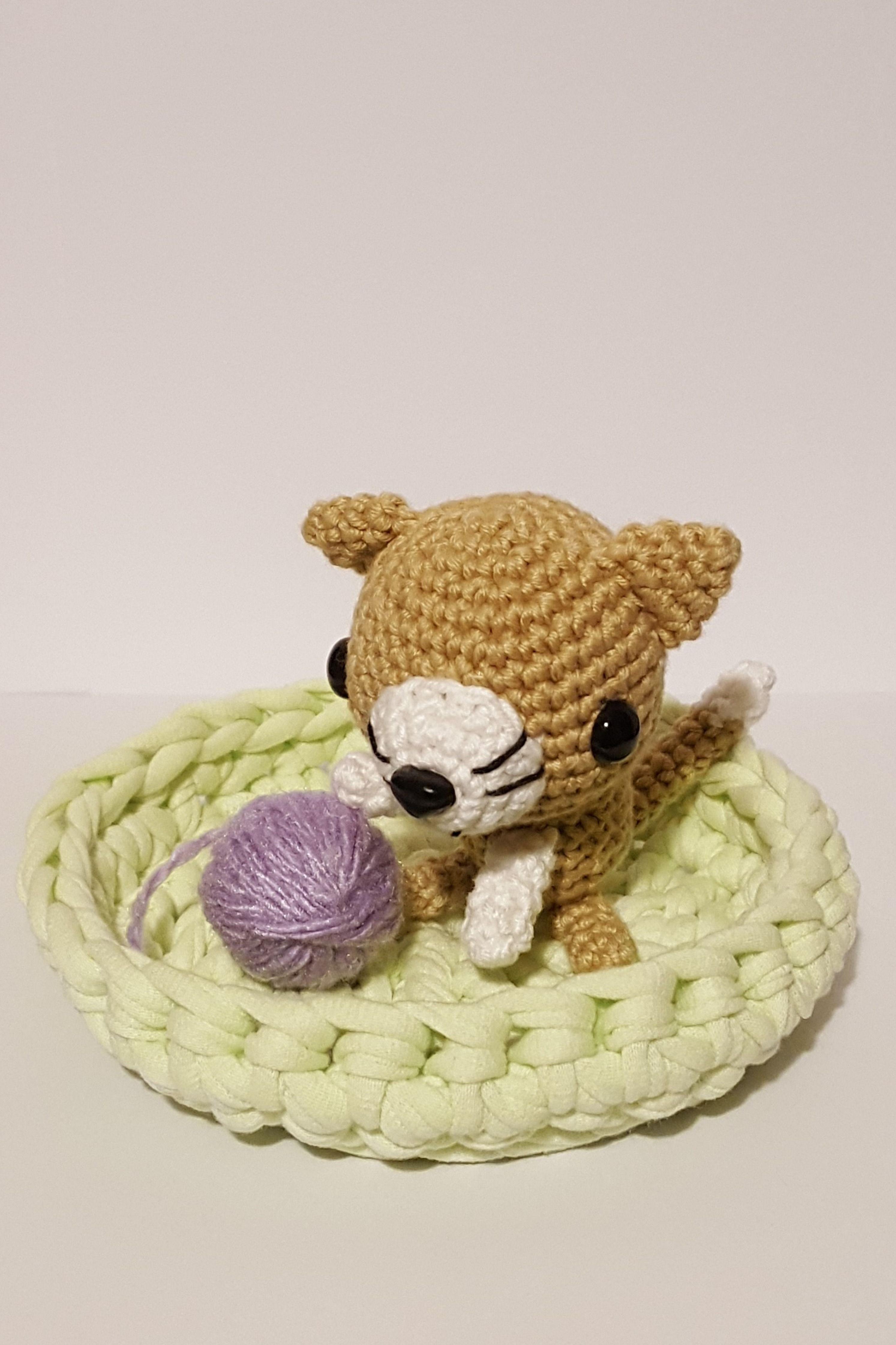 Crochet amigurumi cat plush toy Knitted playful kitten