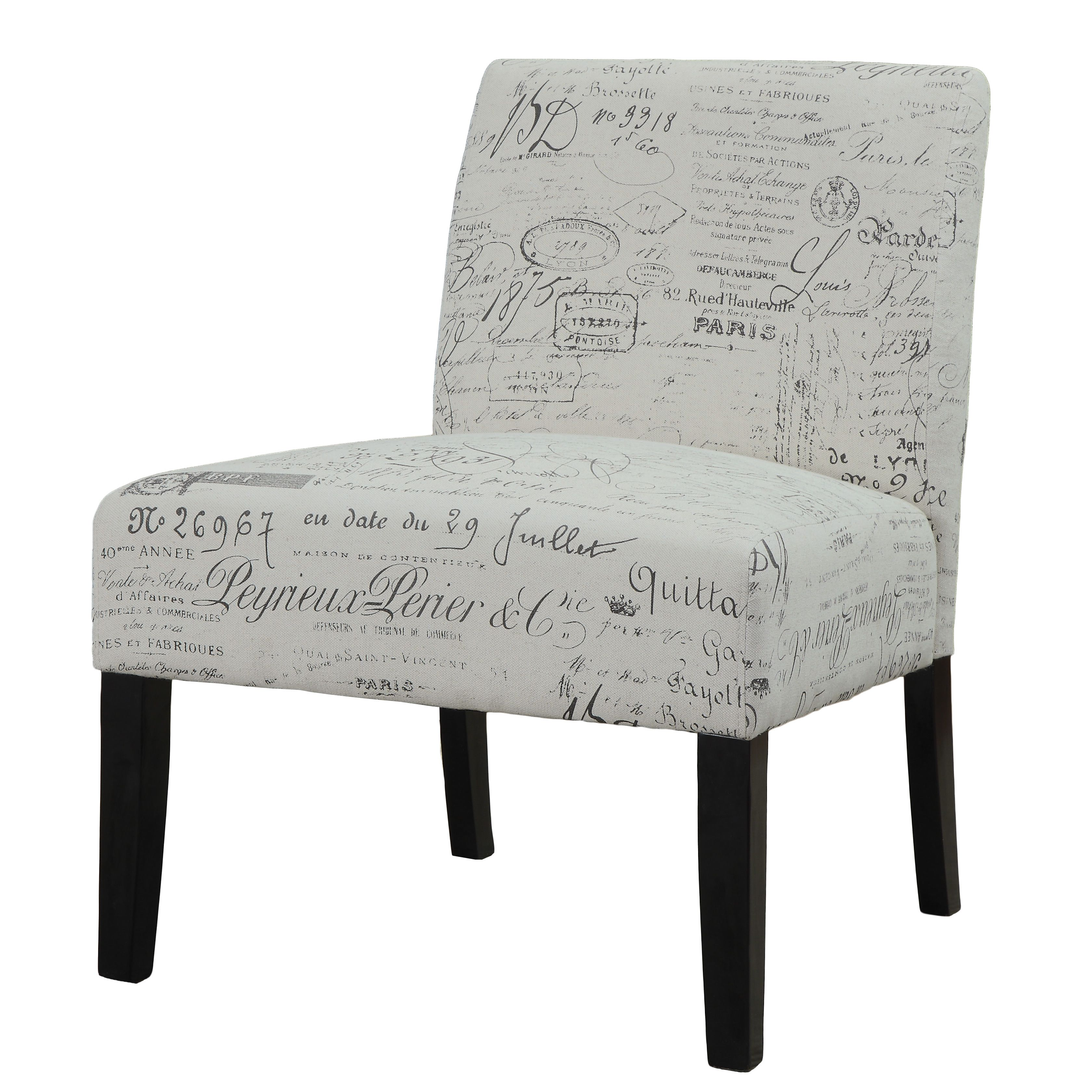 Beige Vintage French Script Contemporary Armless Accent Chair   Overstock™  Shopping   Great Deals On Coaster Living Room Chairs