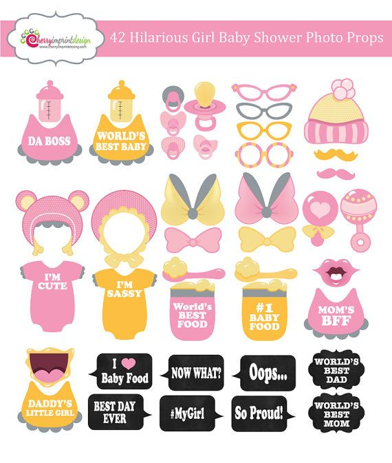 42 Hilarious Girl Baby Shower Photo Booth Props - Pink, Yellow and Grey - INSTANT DOWNLOAD - DIY Printable Pdf