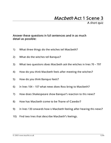 Macbeth: Act 1 Scene 3: Witches and Supernatural | MACbeth ...