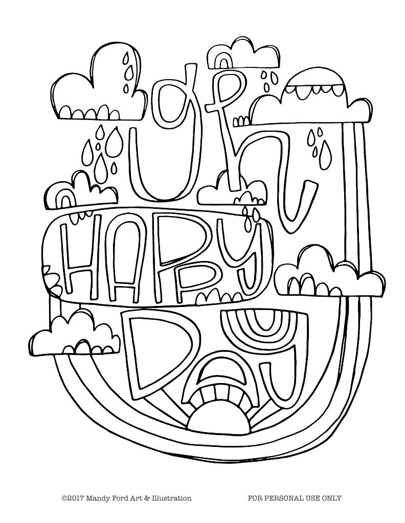 Free Coloring Page Oh Happy Day Free Coloring Pages Coloring