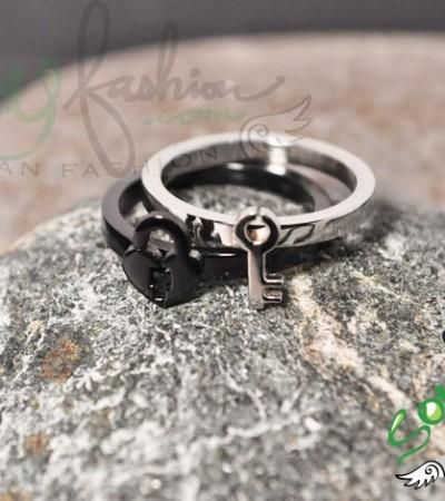 Silver Ring Personalized Ring Key and Lock Rings Adjustable Ring Lock and Key Rings Two Personalized Rings Handstamped Rings
