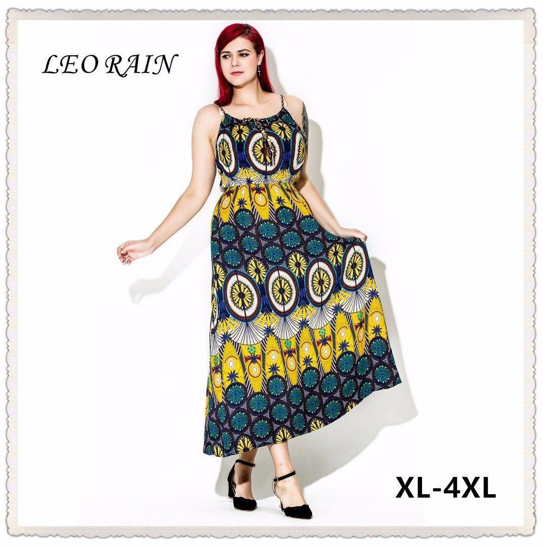4XL Oversize 2017 Summer New Bohemia Fat MM Holiday Plus Size Beach Dress  Strap Print Sexy Maxi Dresses Vestidos Mujer LEORAIN 004b5ccfa6f5