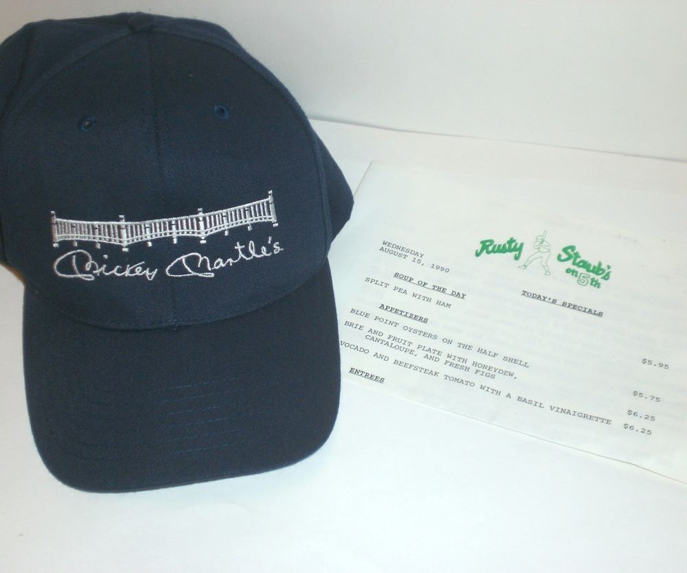 Mickey Mantles Hat Cap Rusty Staub on 5th Restaurant Menu 1990 NY Mets  Yankees  NewYorkMets  Yankees 7ad02c146ae