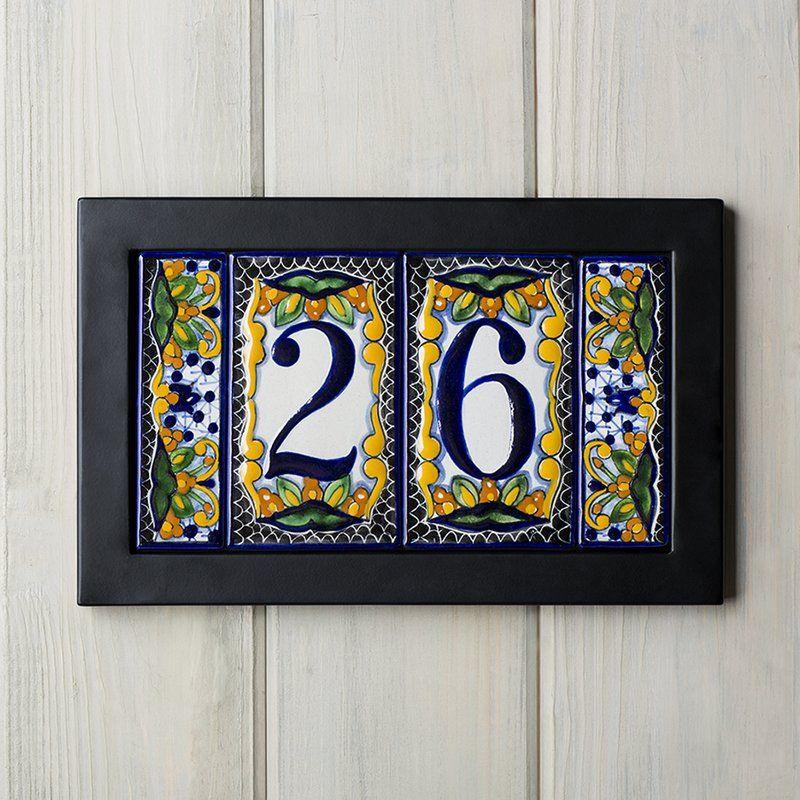 Native Trails Tile Address Plaque Frame Perigold Address Plaque House Numbers Diy Tile House Numbers