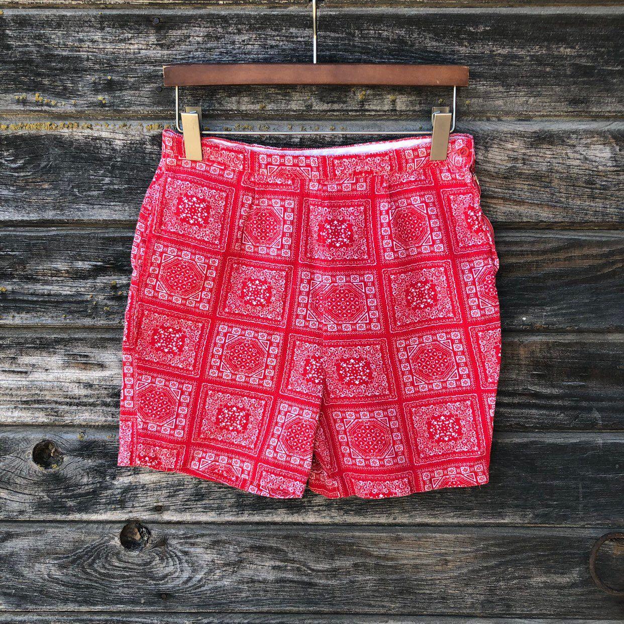 40s 50s Floral Cotton Shorts Vintage 1950s Shorts M L Yellow Pink Orange