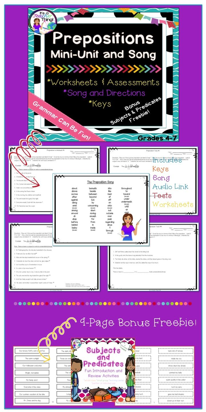 The Preposition Unit includes worksheets, tests, keys, a