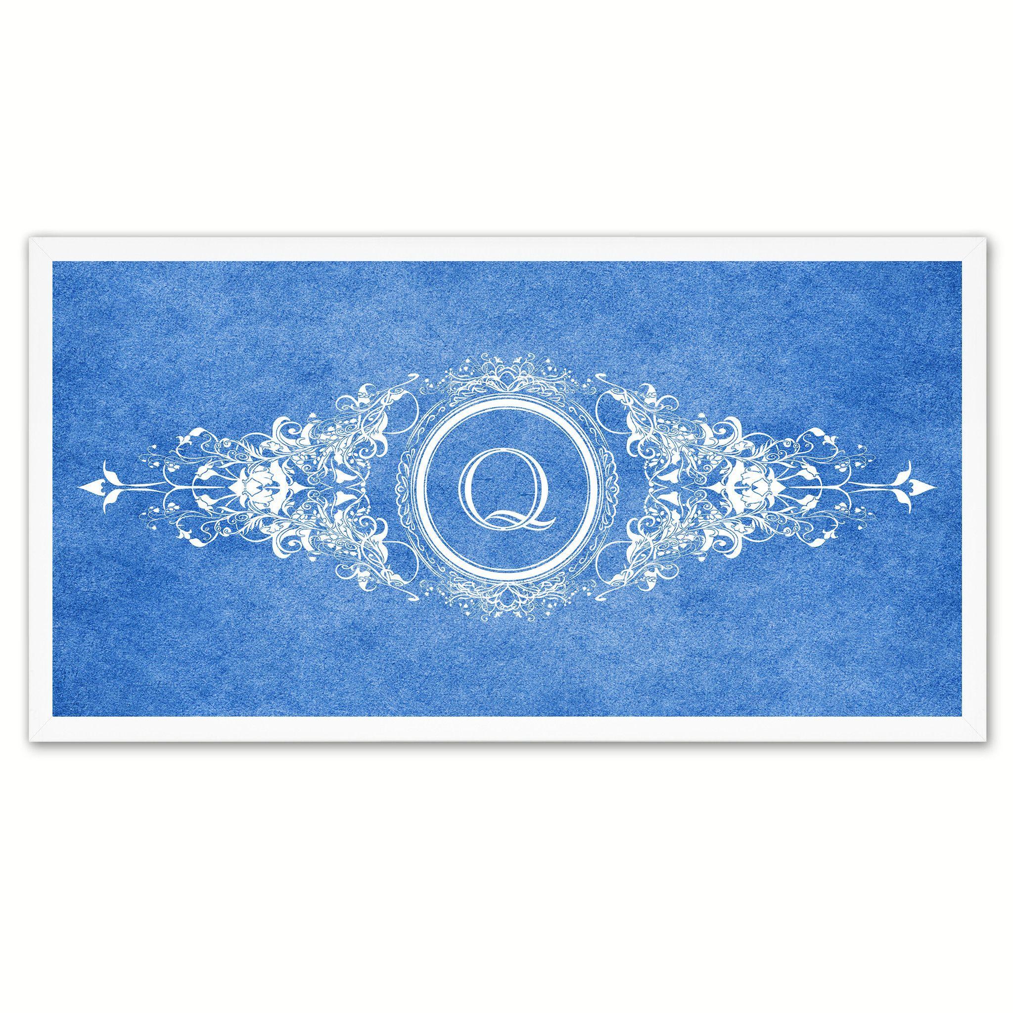 Alphabet Letter Q Blue Canvas Print White Frame Kids Bedroom Wall Dcor  Home Art