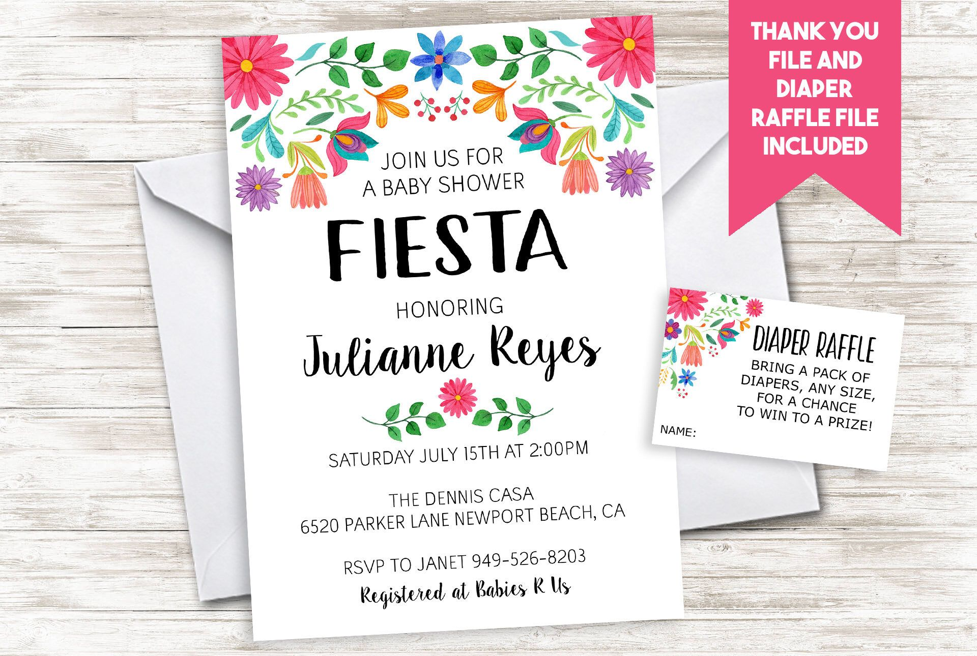 Fiesta Baby Shower Invitation Invite Digital 5x7 Sprinkle Floral ...