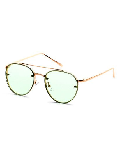 Shop Gold Frame Double Bridge Green Lens Sunglasses Online SheIn - What is an invoice number eyeglasses online store