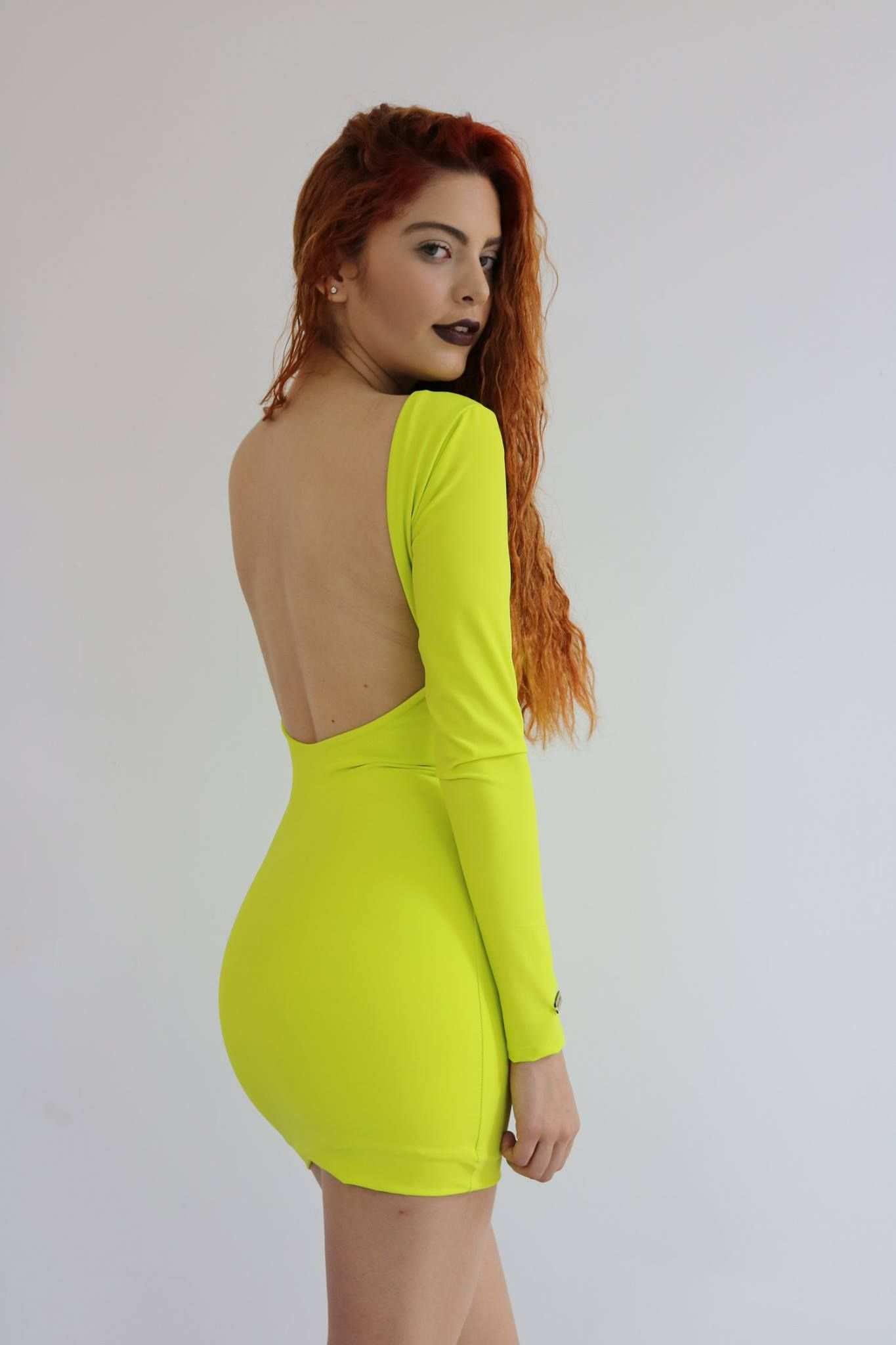 Vestidos largos color verde limon
