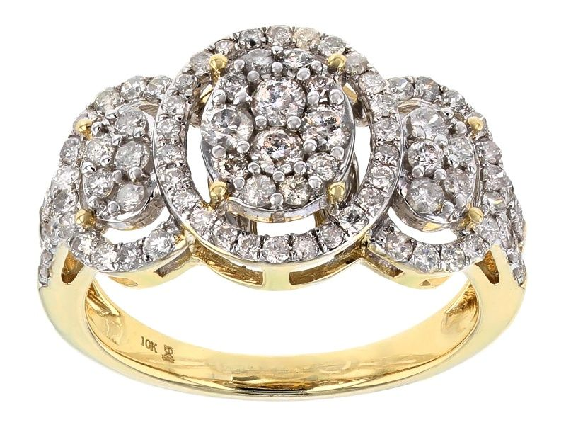 White Diamond 10k Yellow Gold Ring 1 00ctw Cdg120 Yellow Gold Rings Gold Rings White Diamond