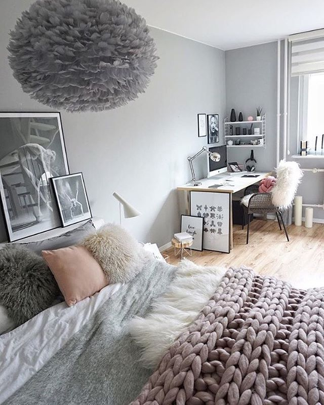 Love The Gorgeous Bedroom Of Easyinterieur The Beautiful Vita Eos Light Shade In Grey Is Now Available To Order In Our Bedroom Design Bedroom Decor Girl Room