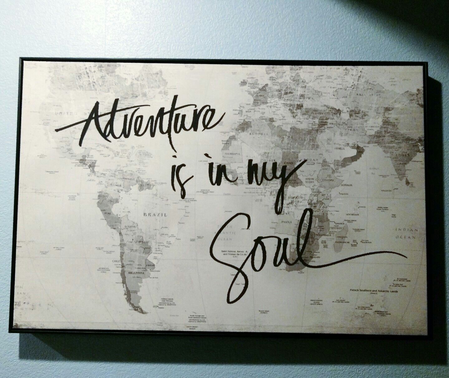 Adventure Is In My Soul Canvas Hobby Lobby Just Bought Today For The Living Room I M In Love Travel Themed Room Adventure Decor Hobby Lobby Decor