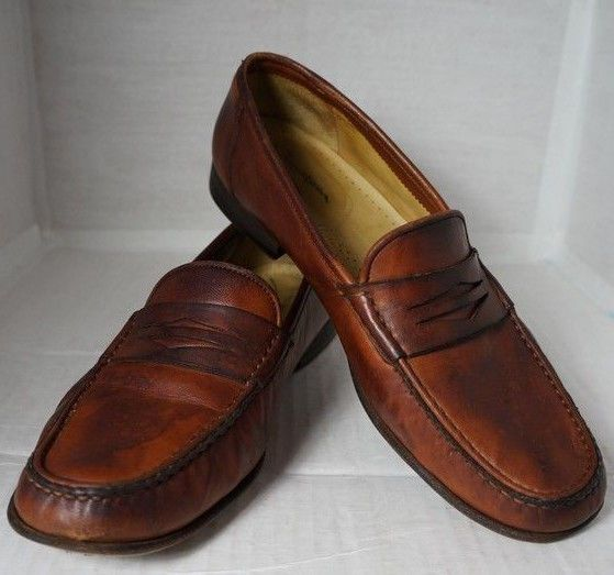 e4c7223d4f7 Santoni Mens Penny Loafers Size 10.5 BROWN Leather Made in Italy  fashion   clothing