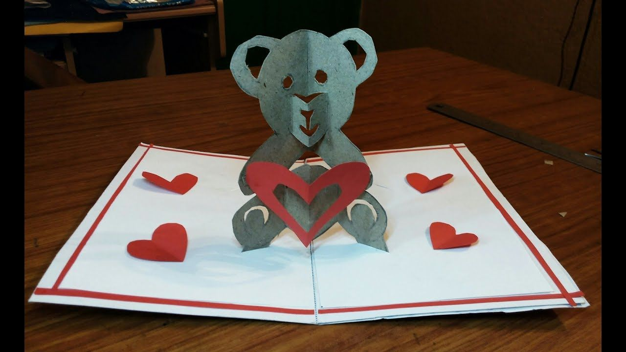 Diy How To Make A Teddy Bear Pop Up Card Paper Crafts Handmade Craft Mother S Day Card With Teddy Be In 2020 Pop Up Card Templates Paper Crafts Cards Paper Crafts
