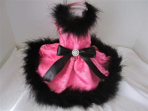 Couture Hot Pink and Black Boa Rhinestone Dress- Apparel - Dress Posh Puppy Boutique