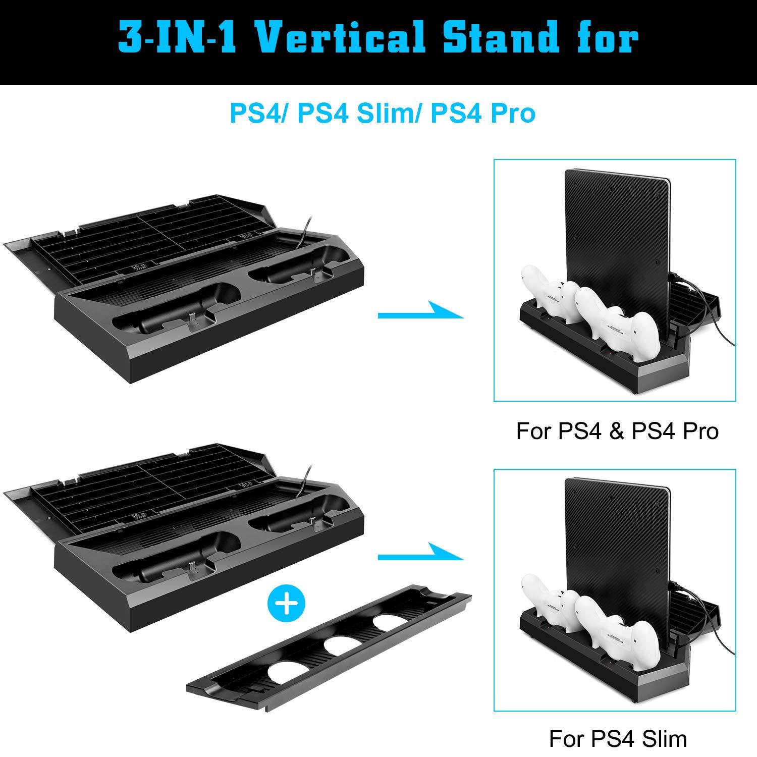 Mocreo Vertical Stand With Cooling Fan For Ps4 Slim Regular