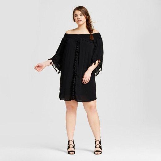 Women s Plus Size f the Shoulder Tassel Dress Xhilaration