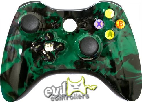 Green Fire With Light Up Abxy Buttons Custom Xbox Xbox Wireless Controller Xbox 360 Controller