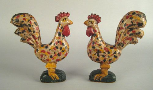 """Realized Price: $ 5616   Carl Snavely(Lancaster County, Pennsylvania,1915-1983) and David Y. Ellinger(American,1913-2003), pair of carved and painted roosters in the manner of Schimmel, both initialed on base """"DYE"""", 9 1/2"""" h. RICHARD MACHMER COLLECTION 2008"""