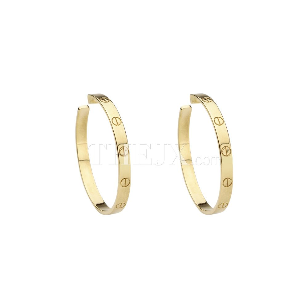 Replica Cartier Clic 18k Yellow Gold Hoop Earrings 1 High Quality