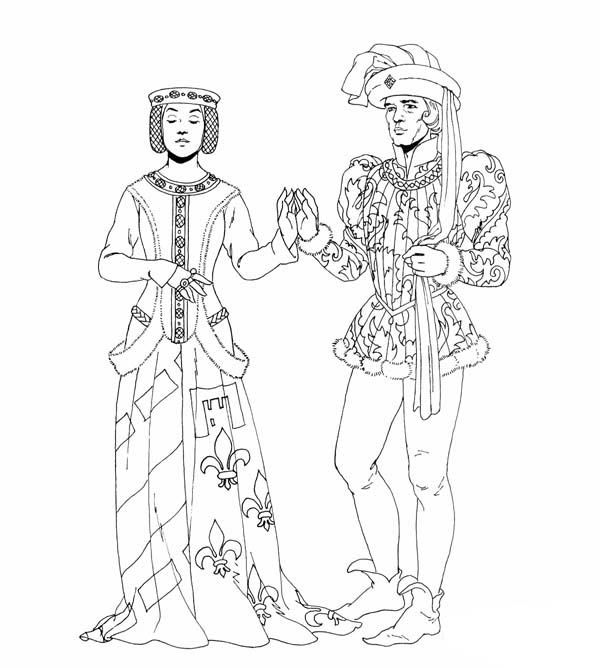 Middle Ages Dance Between Prince And Princess Coloring Page Princess Coloring Pages Princess Coloring Coloring Pages