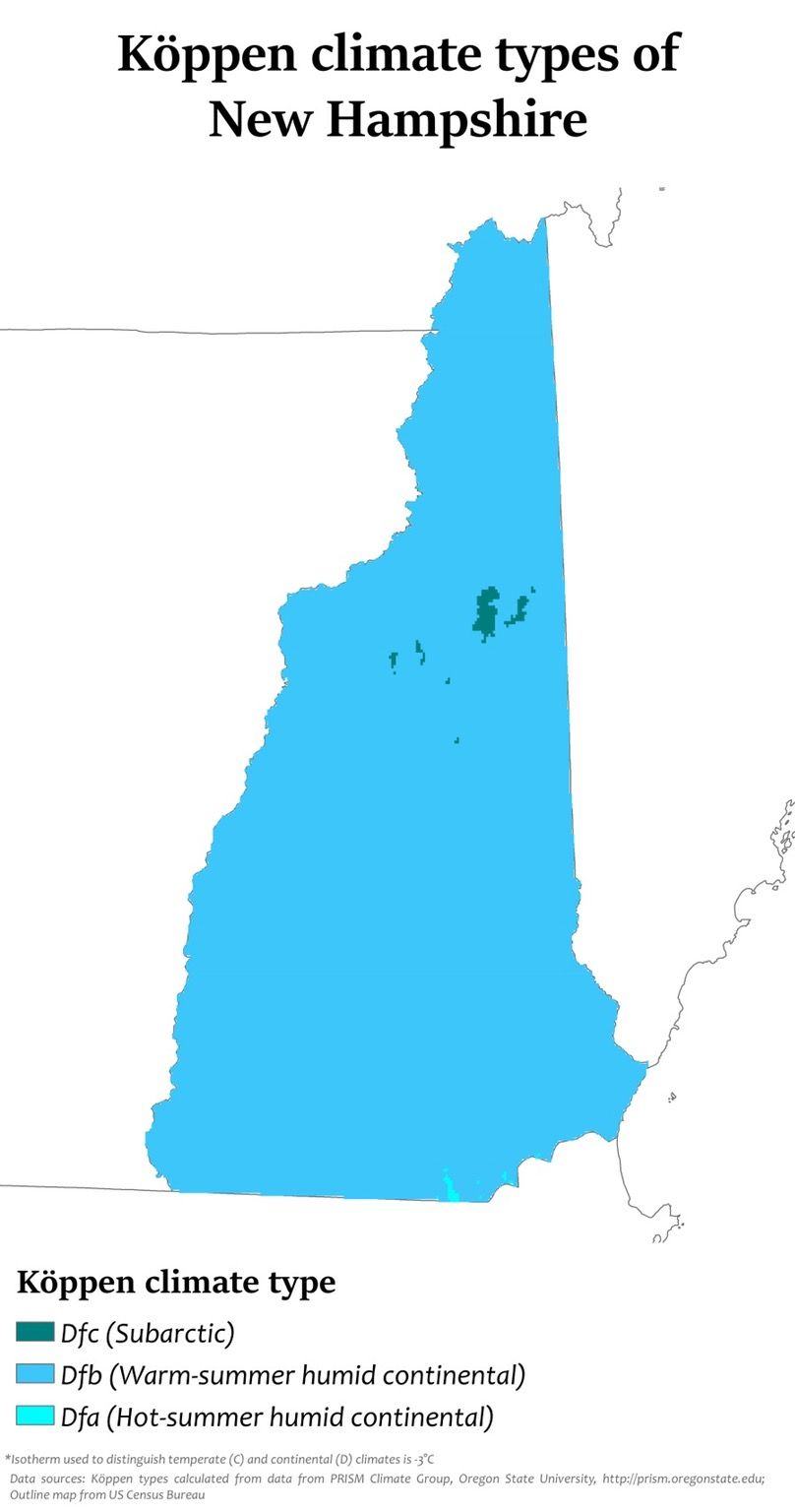 Köppen Climate Types Of New Hampshire MAPS Pinterest - Blank map of us summer trip