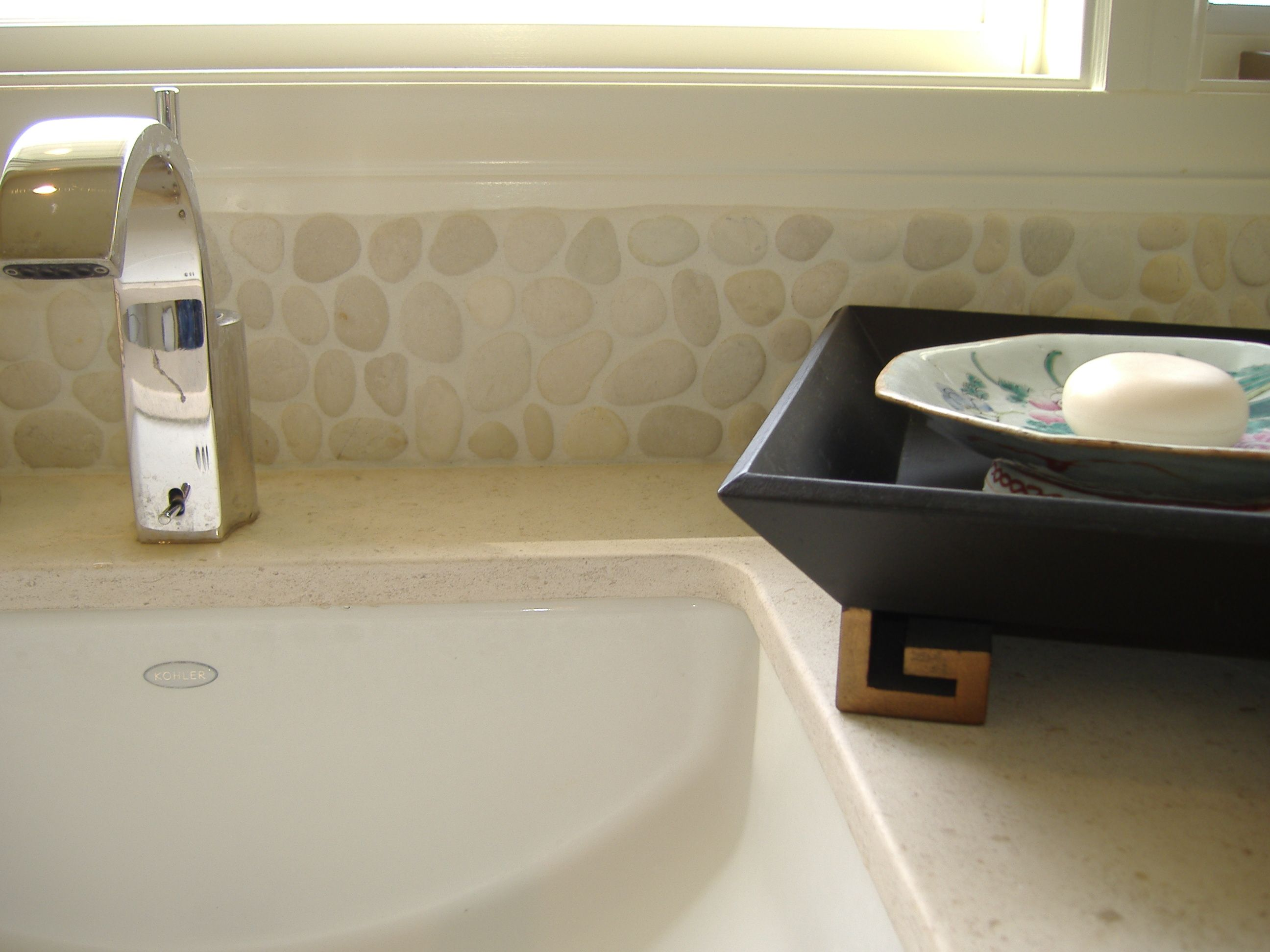 White Pebble Tile, bathroom backsplash, Zen Paradise, Inc ...