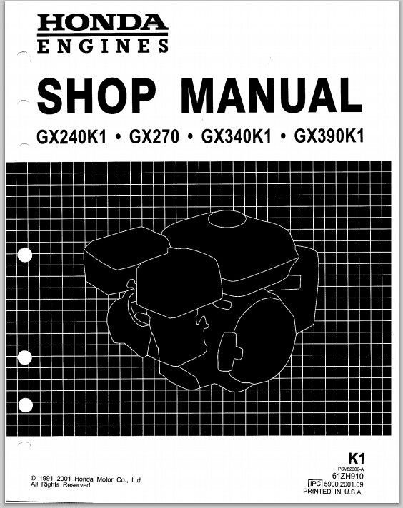 Honda engines GX240K1 GX270 GX340K1 GX390K1 repair shop manual | PDF on