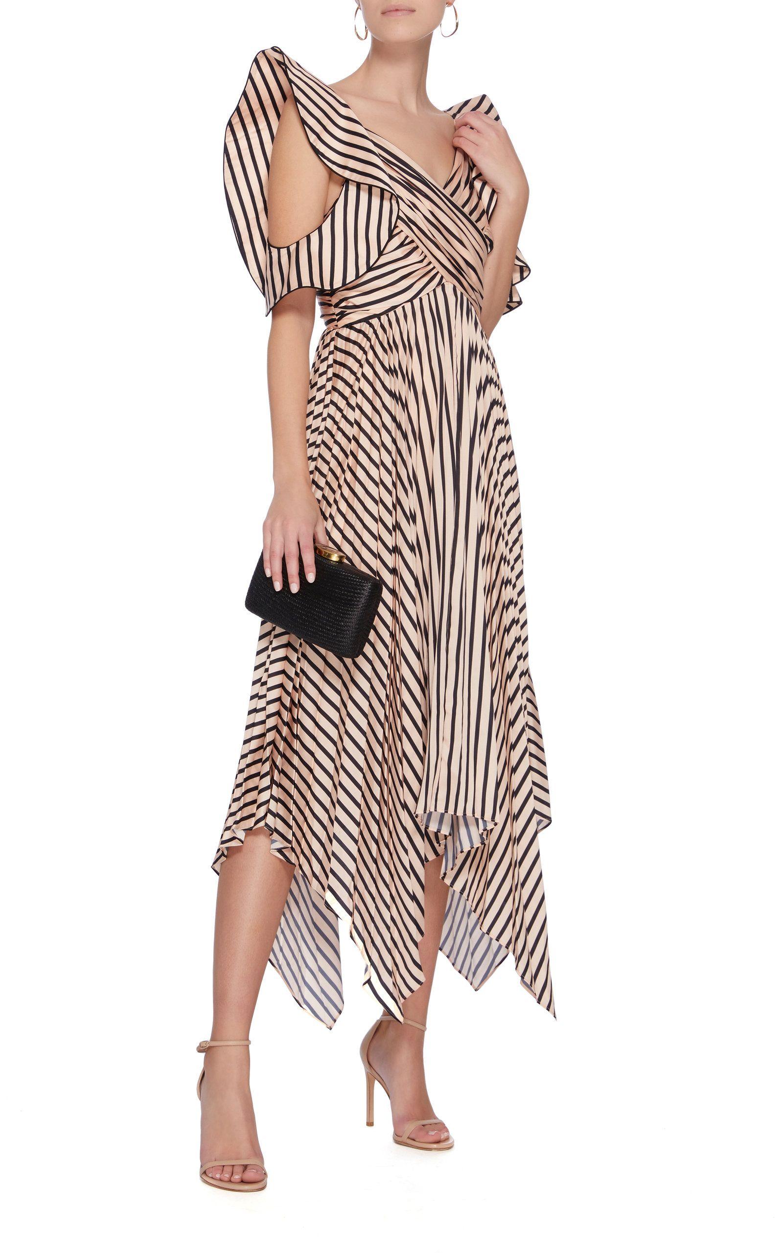 df506c579f7 Asymmetric Stripe Midi Dress by SELF PORTRAIT Now Available on Moda Operandi  Office Wear Dresses