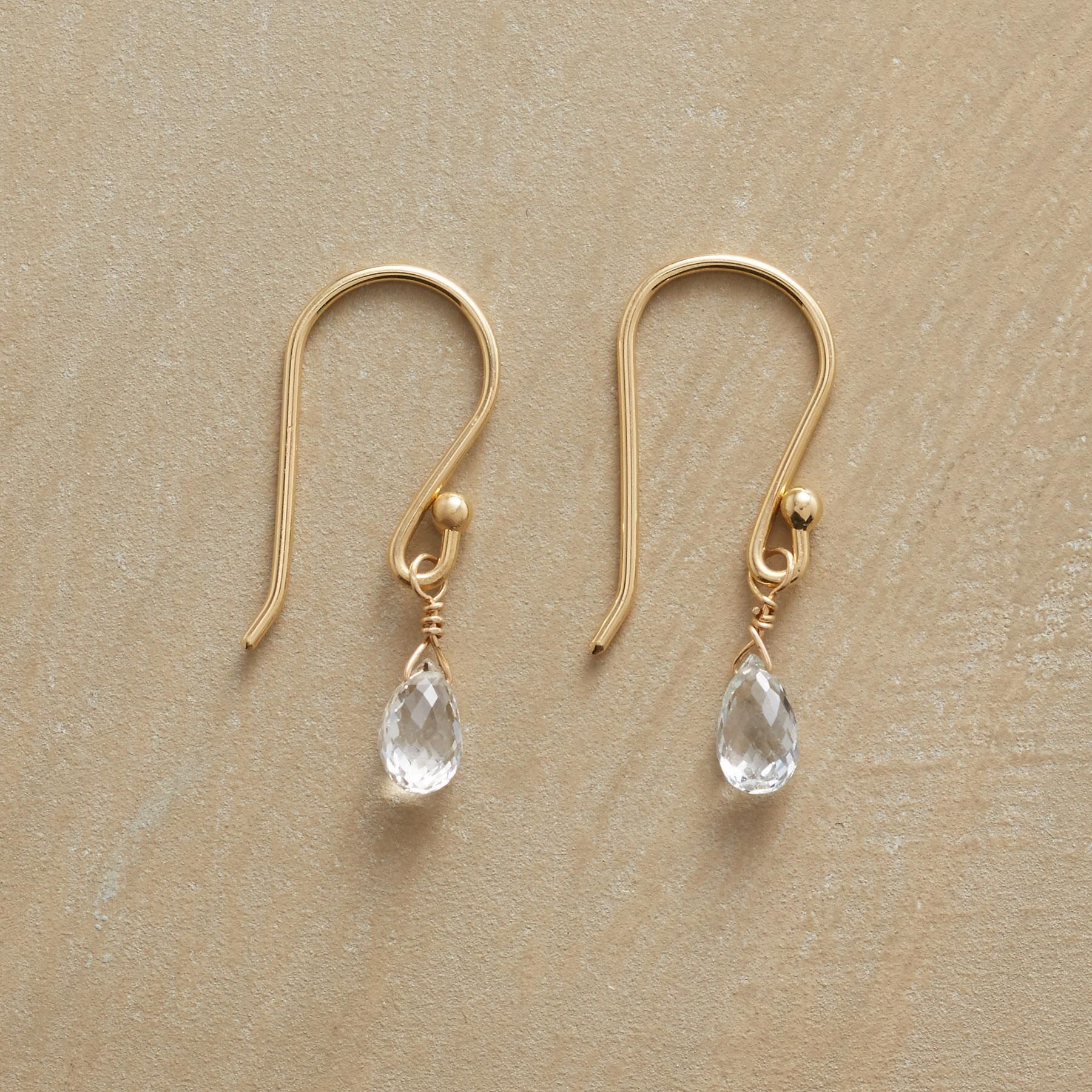 """WONDROUS WHITE SAPPHIRE EARRINGS--One white sapphire per French wire is all it takes to dazzle. Anne Sportun dangling white sapphire earrings handmade in Canada exclusively for Sundance. 3/4""""L."""