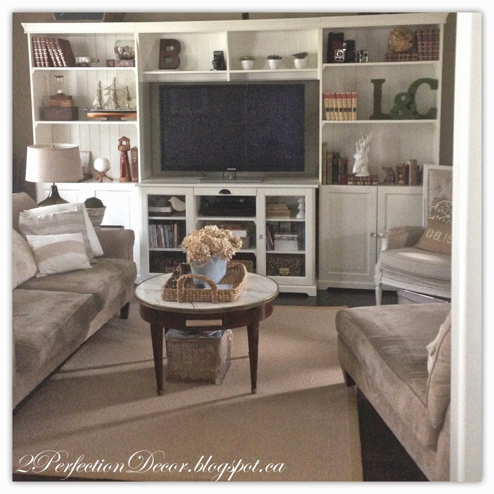 Our living room reveal liatorp bookcases media shelf displays french country home decor - Salon center plan de campagne ...