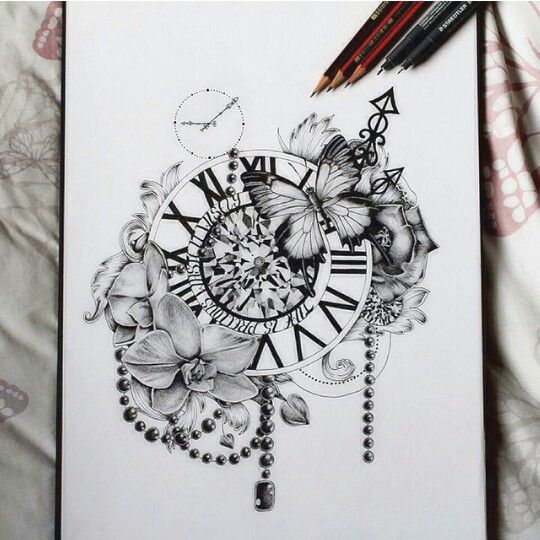 Cool Clock Design Tattoos Beautiful Tattoos Clock Tattoo