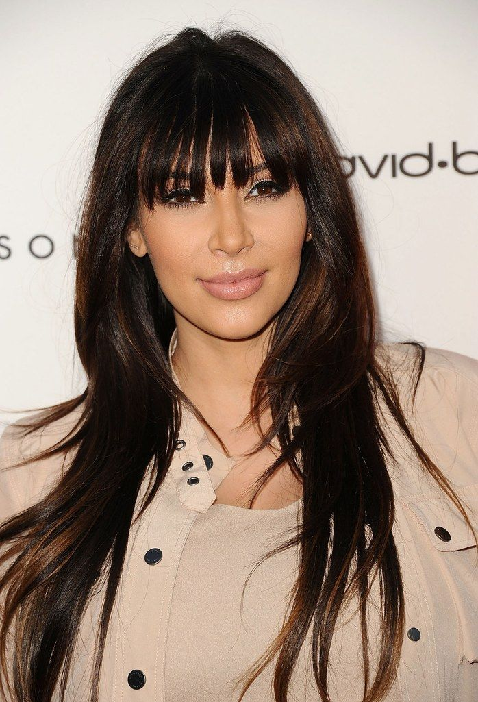 Celebrity Haircut Kim Kardashians Full Bangs Celebrity Haircuts