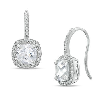 Zales 7.0mm Cushion-Cut Lab-Created Blue and White Sapphire Frame Drop Earrings in Sterling Silver sWK7A9glv